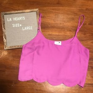 L.A. Hearts Scalloped Purple Crop Top